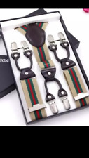 NEW MENS PAISLEY BRACES FOR MEN LUXURY HEAVY DUTY ADJUSTABLE SUSPENDERS 6 CLIPS