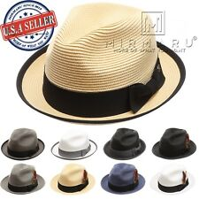 Men Women Lightweight Trilby Fedora Short Curled Brim Hat with Removable Feather
