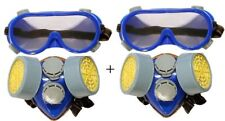 2/1 2PC GOGGLE SAFETY RESPIRATOR DUST MASK PROTECTIVE EYE GOGGLE PAINT FILTER