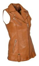 Womens Real Leather Waistcoat TAN Gilet Long Fitted Vest Sleeveless Jacket Top