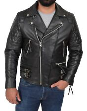 Tough BLACK Cowhide Biker Leather Jacket Latest Mens Fitted Rugged Quilted Coat