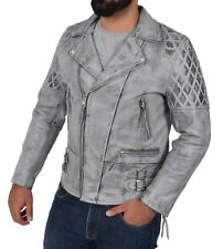 Vintage GREY Cowhide Biker Leather Jacket Latest Mens Fitted Rugged Quilted Coat