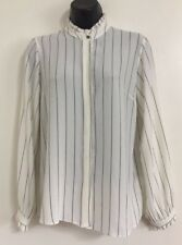 Ex Ladies White Striped Ruffle Button Up Casual Work Blouse Shirt Top Size 8-20