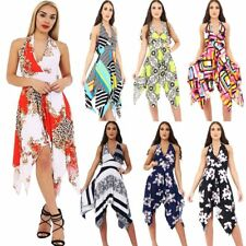 Ladies Women Floral Chain Halter Neck Backless Hanky Dress Fashion Dresses
