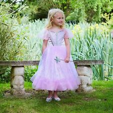 Girls Pink Glitter Sequin Perfect Princess + Wand Fancy Dress Wedding Ball Gown