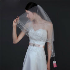 2T Bridal Wedding Veil Elbow Length Brides Veil Sequins Beaded Edge With Comb
