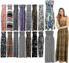 Womens Strapless Maxi Dress Ladies Sheering Boob tube Bandeau Long Lot Size 8-26