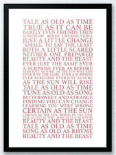 Beauty and the Beast - Celine Dion  Song Lyrics Typography Print Poster Artwork