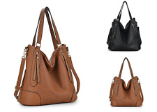 Womens Unity Large Leather Zip Shoulder Bag Tote Hobo Shopper Crossbody Handbag
