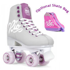 Rio Roller Script Quad Roller Skates Grey/Purple - Optional Skate Bag