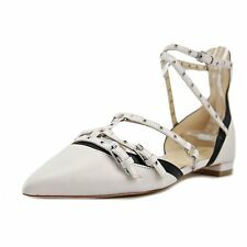 Nine West Womens Aweso Leather Pointed Toe Ankle Strap Slide Flats