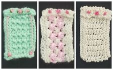 Handmade Miniature 1/12th scale dolls house Baby Blanket for cot/crib. Various.