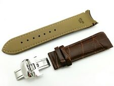 Genuine Leather Brown 22mm Strap Band for Tissot Watch Clasp Buckle + Pins
