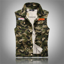 New Brand Fashion Mens Camouflage Denim Vests Military Sleeveless Jeans Jackets