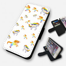 Blanco unicornios rainbows - Funda abatible para teléfono CARTERA TARJETERO (N)