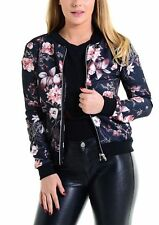 Womens Floral Print Bomber Jacket Ladies Long Sleeve Zipper Biker Jacket