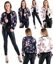 Womens Floral Print Bomber Jacket Ladies Long Sleeve Zipper Biker Jacket Blazer