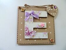 PERSONALISED INITIAL HANDCRAFTED,EMBELLISHED WALL PLAQUE,SHABBY CHIC