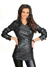 Womens Soft Black Leather Trench Coat Slim Fit Double Breasted Hip Length Jacket