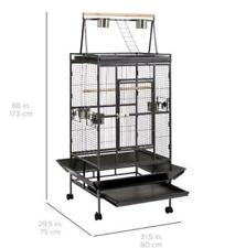 Metal House Portable Parrot Cage Large Bird Aviary Canary STAND Cockatiel Budgie