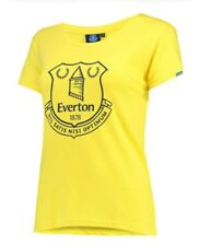 Womens 8 16 Official EVERTON FC Crest T Shirt Football Top Gift Ladies Yellow