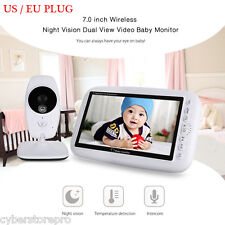 2-Way TALK 17.8cm 2.4GHZ WI-FI TFT LCD DUAL VISIONE Baby Video Monitor Notturna