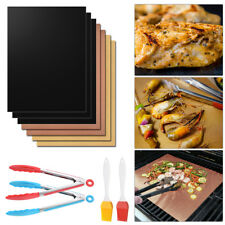 Reusable Non-stick BBQ Grill Mat Barbecue Baking Liner Cooking Sheet+Clamp+Brush