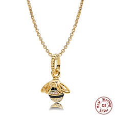 💎 SHINE Genuine 18K Gold Sterling Silver Queen Bee Pendant Charm  💎