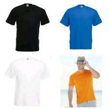 Mens Fruit Of The Loom 100% Cotton Plain Tee shirt T Shirt T-Shirt Short ZA
