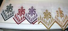 White Altar Cloth Embroidery in Red, Green, Gold, White, Blue, Purple Polyester