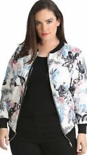 Womens Ladies Butterfly Floral Printed Long Sleeve Zipper Up Bomber Jacket Top