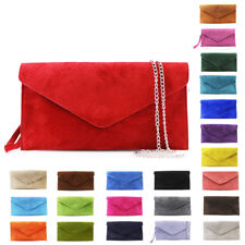 Womens Suede Leather Italy Flap Wristlet Shoulder Bag Clutch Crossbody Handbag