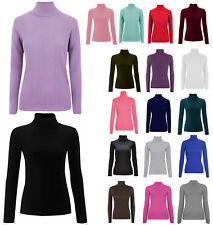 Ladies Plain Ribbed Polo Top Women Turtle Roll Neck Cotton Tunic Top Jumper 8-14