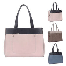 New Womens Yvonne Block Leather Tote Crossbody Shoulder Bag Hobo Shopper Handbag