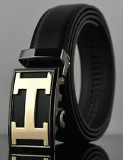 NEW MENS LEATHER BELTS FOR MEN AUTOMATIC LETTER H BELT H RATCHET BUCKLE H 010 GG