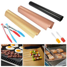 BBQ Grill Mat Reusable Non-Stick Cooking Meat Barbecue Baking Sheet+Clamp+Brush