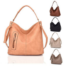 Womens Nattie Side Zip Leather Tote Crossbody Shoulder Bag Hobo Shopper Handbag