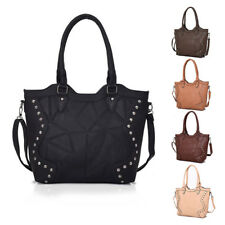Womens Marrie Studded Leather Tote Crossbody Shoulder Bag Hobo Shopper Handbag