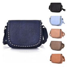 Womens Rounded Studded Leather Crossbody Medium Shoulder Bag Messenger Handbag