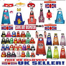 New Kids Boys Girls Superhero Cape and Mask Fancy Dress Costume set Gifts Party