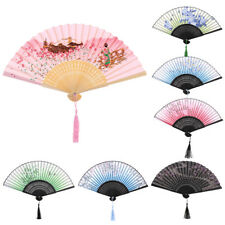 Chinese Style Folding Hand Held Flower Pattern Fan for Dance Wedding Party