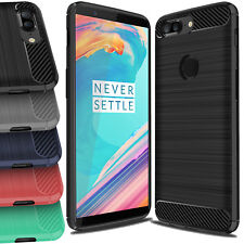 For OnePlus 6 Luxury ShockProof TPU Rugged Gel Case Skin Cover Carbon Fiber  5T