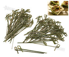 50-100 Bamboo Knot Skewers Sticks Ideal Canape Buffet Party Dinner Tableware WIN