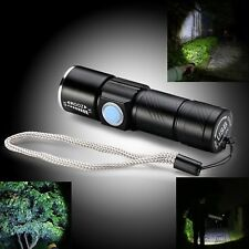 Rechargeable USB Ultra Bright LED Beam Focusing Zoom Flashlight Torch 3 Modes uk