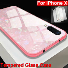 3D Bling Tempered Glass Case for iPhone X 6 7 8 Plus Shockproof Phone Cover Skin