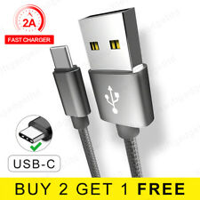 1M 2M USB 3.1 Cable Braided USB Type C Fast Charger USB C Data Cable Lead - Grey