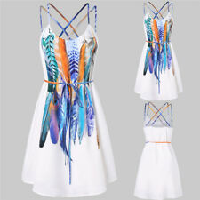 2018 Summer Dress Women Sexy Beach Bandage Printed Feathers Dress Backless