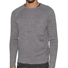 CROSSBY  PULL FIN  COL ROND  HOMME  DIG  GRIS CLAIR CHINÉ NEUF GRADE A
