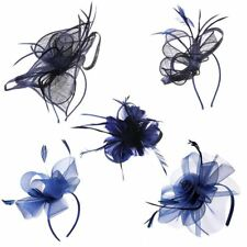 NAVY FASCINATOR WEDDING RACES ROYAL ASCOT MIDNIGHT BLUE HEADPIECE ON BAND & CLIP