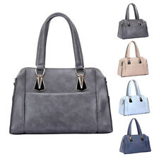 Womens Plain Fashion Leather Tote Shoulder Bag Crossbody Hobo Shopper Handbag